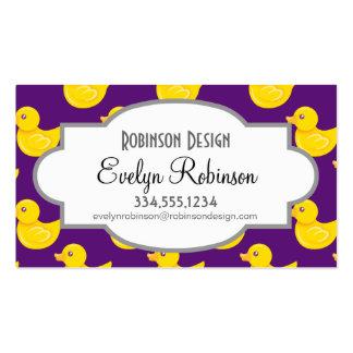 Pato de goma púrpura y amarillo, Ducky Tarjetas De Visita