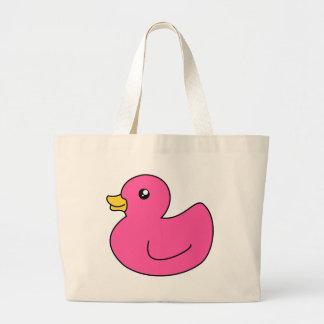 Pato de goma rosado bolsa tela grande