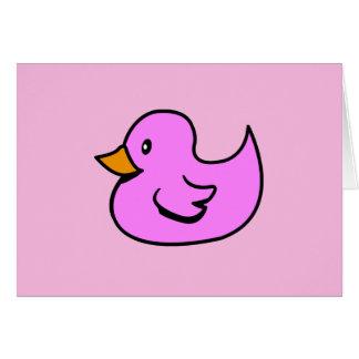 Pato de goma rosado tarjeta de felicitación