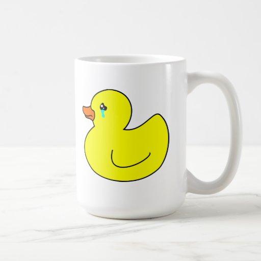 Pato de goma triste taza
