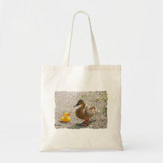 Pato de goma y pato de la madre bolsa de mano