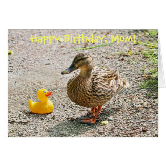 Pato de goma y pato de la madre tarjeta de felicitación