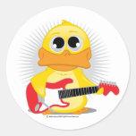 Pato de la guitarra eléctrica pegatinas redondas