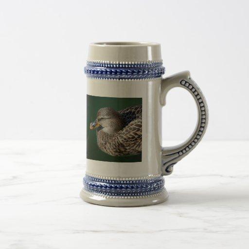 Pato de la hembra del pato silvestre jarra de cerveza