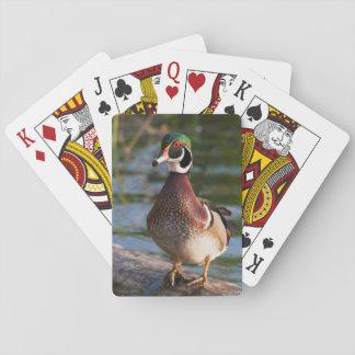 Pato de madera barajas de cartas