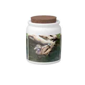 Pato de madera femenino tarro de cerámica para dulces