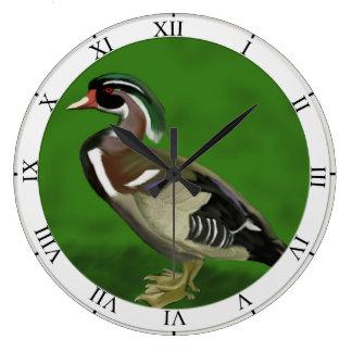 Pato de madera reloj redondo grande