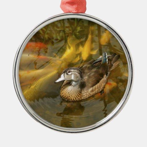Pato de madera y Koi Fish.jpg Ornamento Para Arbol De Navidad