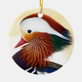 Pato de mandarín adorno navideño redondo de cerámica