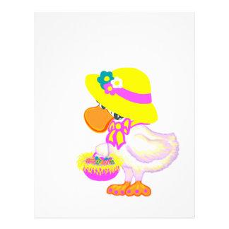 Pato de Pascua con el capo y la cesta de huevos Membrete