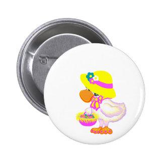 Pato de Pascua con el capo y la cesta de huevos Pin Redondo 5 Cm