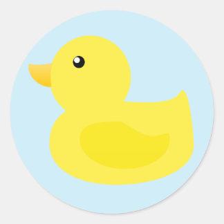 Pato del amarillo del tiempo del baño etiqueta redonda