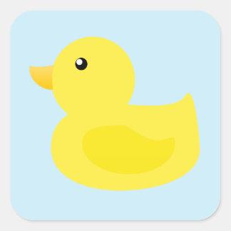 Pato del amarillo del tiempo del baño pegatina cuadrada