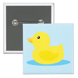 Pato del amarillo del tiempo del baño pin cuadrada 5 cm