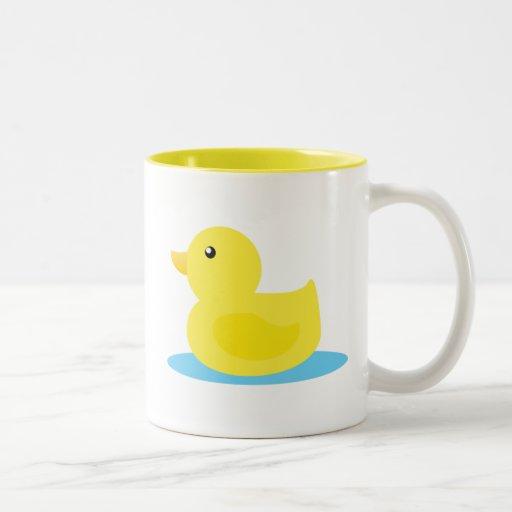 Pato del amarillo del tiempo del baño tazas de café