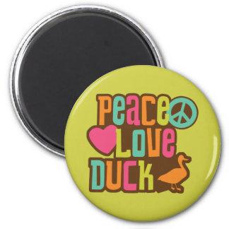 Pato del amor de la paz imán redondo 5 cm