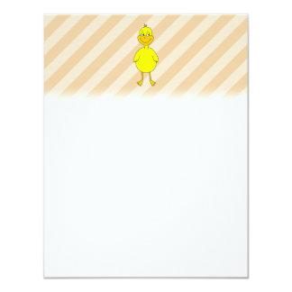 Pato del dibujo animado invitación 10,8 x 13,9 cm