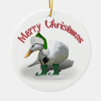 Pato del duende del navidad - el ayudante de Santa Adorno Navideño Redondo De Cerámica