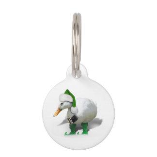 Pato del duende del navidad - el ayudante de Santa Placa Para Mascotas