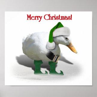 Pato del duende del navidad - el ayudante de Santa Poster