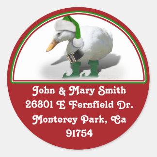 Pato del duende del navidad - el ayudante de Santa Etiqueta Redonda