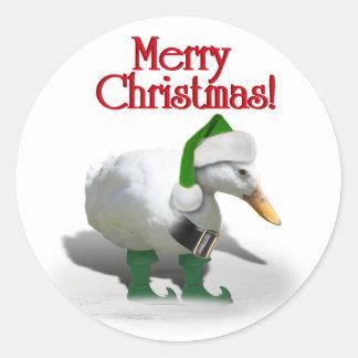 Pato del duende del navidad - el ayudante de Santa Pegatina Redonda
