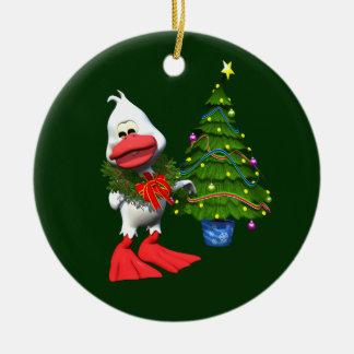 Pato del navidad adorno navideño redondo de cerámica