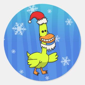Pato del navidad etiquetas redondas