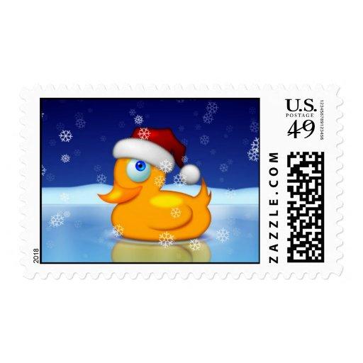 Pato del navidad timbre postal