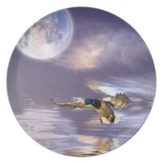 Pato del pato silvestre del aterrizaje y placa del plato para fiesta