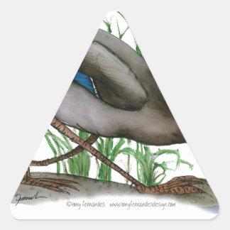 pato del pato silvestre - pájaro salvaje, calcomanía triangulo