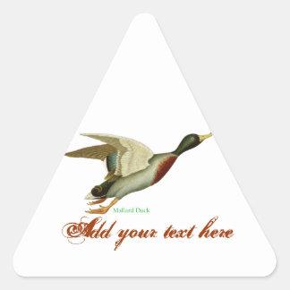 Pato del pato silvestre pegatina triangular