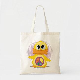 Pato del signo de la paz bolsa tela barata