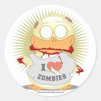 Pato del zombi pegatina redonda
