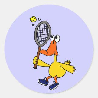 Pato divertido del ANUNCIO que juega a tenis Pegatinas