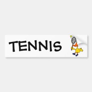 Pato divertido del BR que juega a tenis Pegatina De Parachoque