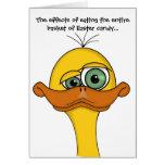 Pato divertido del dibujo animado de Pascua Tarjeta De Felicitación