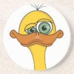 Pato divertido del dibujo animado posavaso para bebida