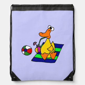Pato divertido en el dibujo animado de la playa mochila