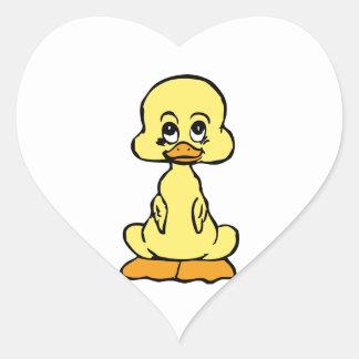 Pato divertido pegatina de corazón