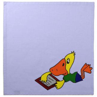 Pato divertido usando dibujo animado del Internet Servilletas
