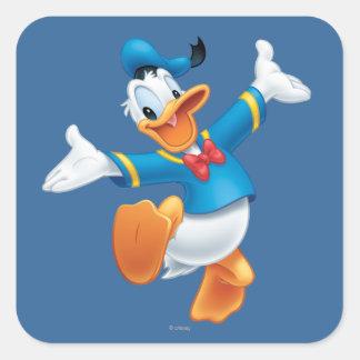 Pato Donald el | que salta Pegatina Cuadrada