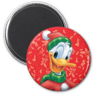 Pato Donald en ropa del invierno Imán Redondo 5 Cm