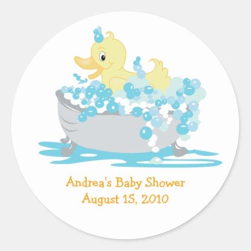 Pato Ducky en pegatinas del favor de la tina