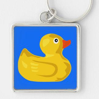 Pato Ducky Llavero Cuadrado Plateado