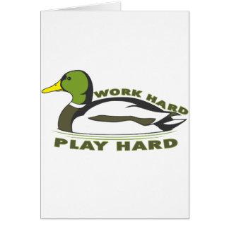 Pato duro del pato silvestre del juego duro del tr tarjeta de felicitación