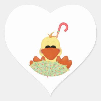 Pato en paraguas pegatina de corazon personalizadas