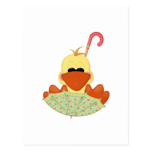 Pato en paraguas postales