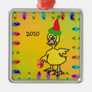 Pato en vitral adorno navideño cuadrado de metal