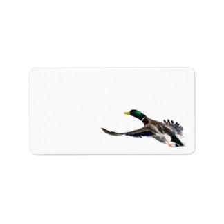 pato en vuelo etiquetas de dirección